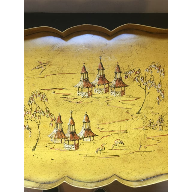 Yellow Pagoda Tole Tray Table - Image 4 of 7