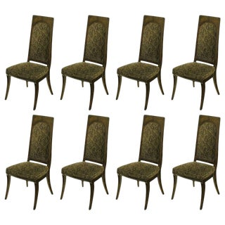 Set of Eight Mastercraft Amboyna Burl and Paisley Velvet Dining Chairs For Sale