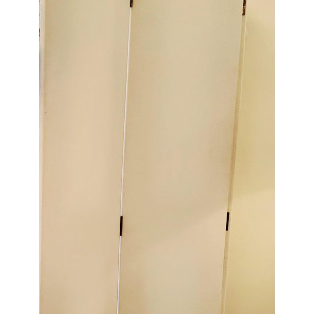 Upholstered 4 Panel Screen With Nailheads For Sale - Image 10 of 11