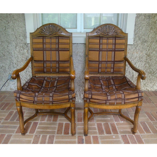 Vintage Carved French Country Armchairs - a Pair For Sale - Image 10 of 10
