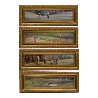 Late 20th Century Uttermost 70950 Framed Golf Prints Set of 4 For Sale
