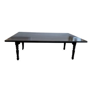 Contemporary Black Wood Plank Top Dining Table
