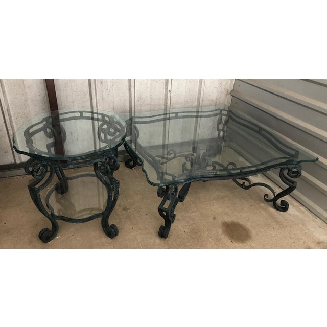 Ballard Designs Scrolled Iron Cocktail Table & Side Table For Sale - Image 12 of 13