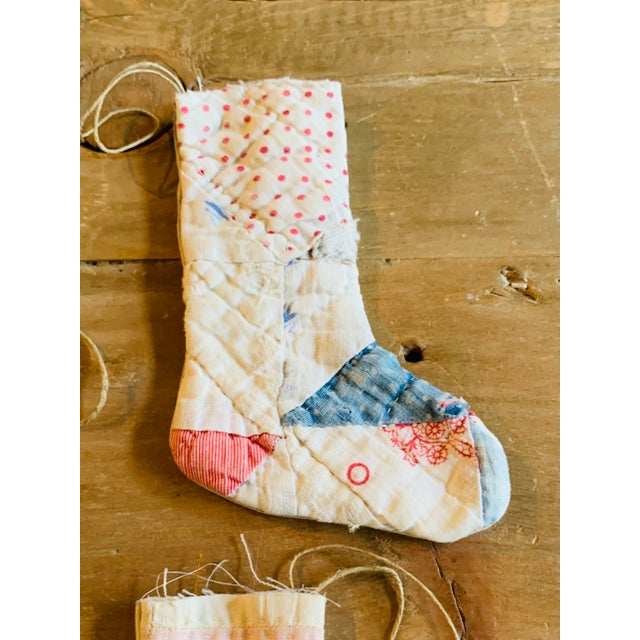 Rustic Vintage Textile Handmade Stocking Ornaments - Set of 5 For Sale - Image 3 of 6