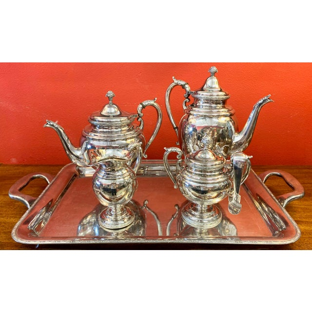 Mid 20th Century Sterling Silver Tea Set With Tray .950/1000 - Set of 5 For Sale - Image 13 of 13