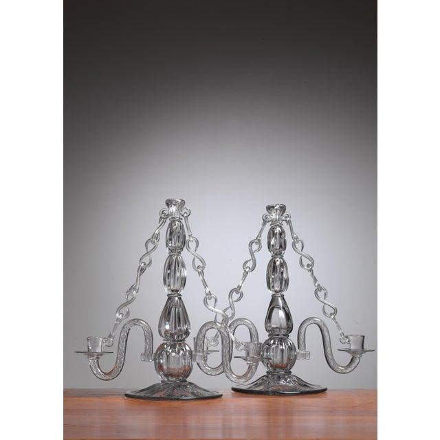 Mid-Century Modern Gerda Stromberg and Knut Bergqvist Pair of Glass Candelabra, Sweden, 1941 For Sale - Image 3 of 3