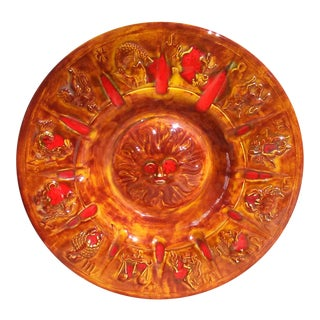 Vintage Large Orange Astrology Ashtray For Sale