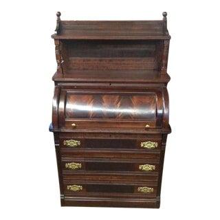 Eastlake Victorian Mahogany Cylinder Desk For Sale