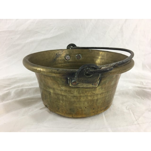 Antique French Small Brass Cauldron With Wrought Iron Handle For Sale - Image 4 of 8