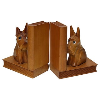 Mid-Century Scottie Dog Carved Bookends Preview