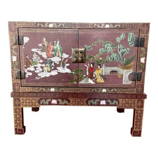 Vintage Chinese Hand Painted Cabinet For Sale