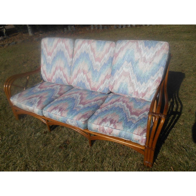 Blue Vintage 1960's Heywood-Wakefield Rattan Sofa For Sale - Image 8 of 8