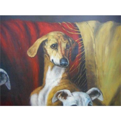 Maitland Smith style Whippet dog Painting Beautiful painting on canvas Professionally framed Online reference The Whippet...
