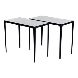 "Contemporary Design Frères ""Esquisse"" Iron and Honed Marble Side Tables - a Pair For Sale"