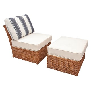 Vintage Wicker Lounge Chair & Matching Ottoman For Sale