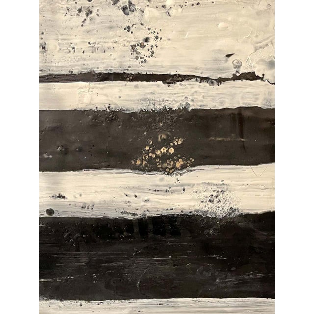 "Modern Lynn Basa Encaustic Black and White Stripe Panel ""The Speckled Band"" 2013 For Sale - Image 3 of 11"