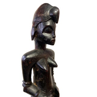 """Senufo Mid Century Ebony Wood Sculpture of a Seated Female 15.5"""" H Preview"""