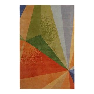 Rug & Kilim's Mid-Century Modern Style Geometric Multicolor Wool and Silk Custom Rug For Sale