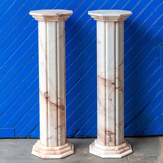 Vintage Deco Style White and Pink Columns – a Pair For Sale - Image 9 of 9