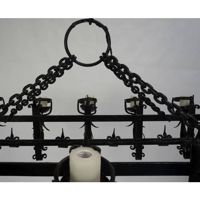Henry III Style Hand Wrought Iron Chandelier For Sale - Image 9 of 10