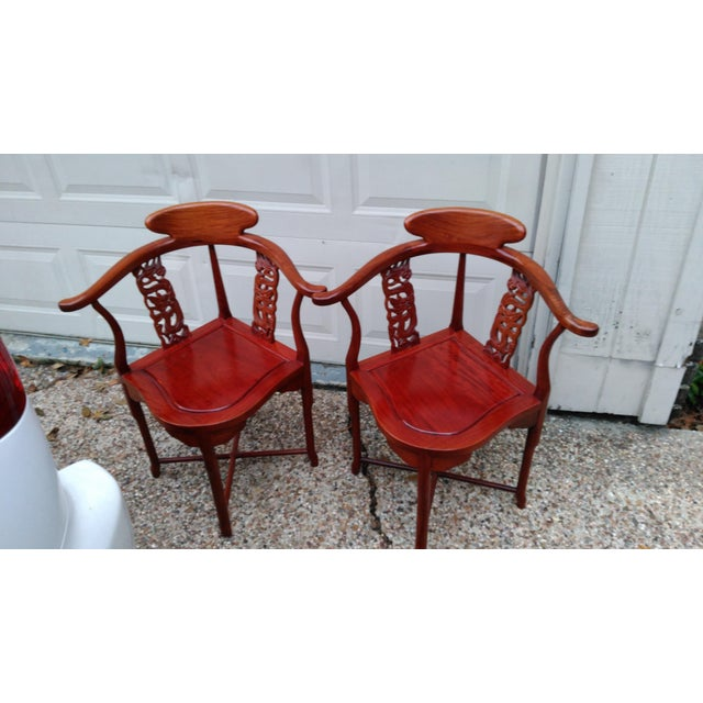 Wood Chinese Solid Rosewood Corner Chairs - A Pair For Sale - Image 7 of 11