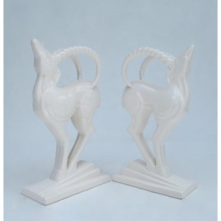 Vintage Fitz & Floyd Art Deco Style Porcelain White Gazelle Bookends, or Accents Preview