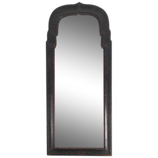 Early Queen Anne Black Japanned Chinoiserie Mirror For Sale