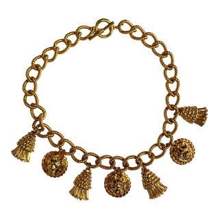 Vintage Lion's Head and Tassel Gold Necklace For Sale