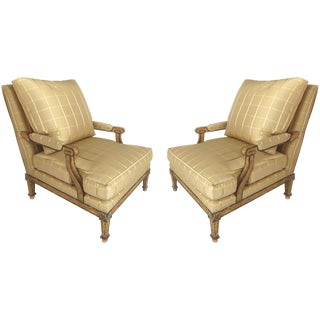 Nancy Corzine Neoclassical Silk Upholstery and Down Fauteuil Armchairs - a Pair For Sale