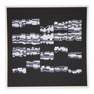 """Manfred Mohr (Germany, B.1938) """"Cluster Phobia"""" Silkscreen C.1973 Signed / Numbered For Sale"""