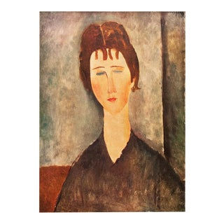 """1958 Modigliani, """"Young Girl With Brown Hair"""" First English Edition Lithograph For Sale"""