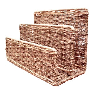 Woven Rope & Rattan Desktop Letter Organizer For Sale