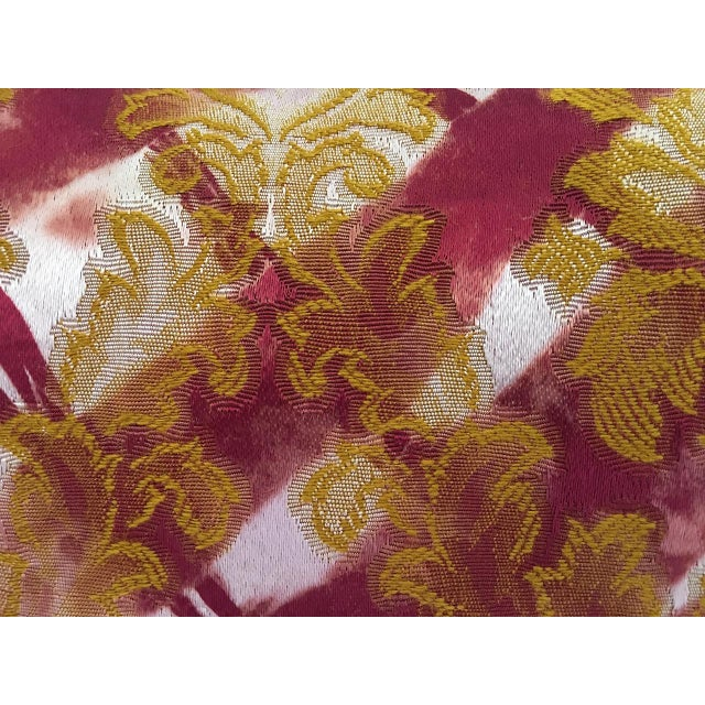 Tie dye brocade designer pillow. Traditional brocade fabric that has been reverse tie dyed to create a multi-layered...