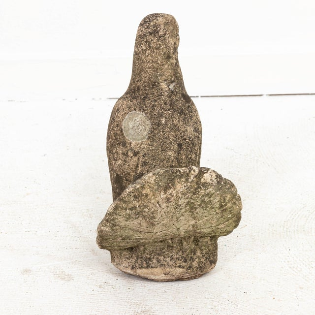 English Vintage Cast Stone Pigeon Garden Ornament With Patina For Sale - Image 3 of 6