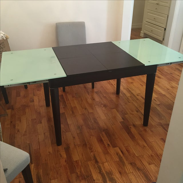 Mixed Media Glass and Wood Covertible Dining Table - Image 4 of 7
