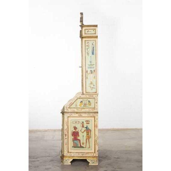 Italian Unusual Antique 19th C Egyptian Motif Paint Decorated Italian Secretary For Sale - Image 3 of 7