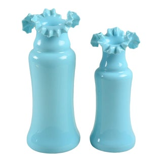 Vintage French Blue Opaline Ruffled Vases - a Pair For Sale
