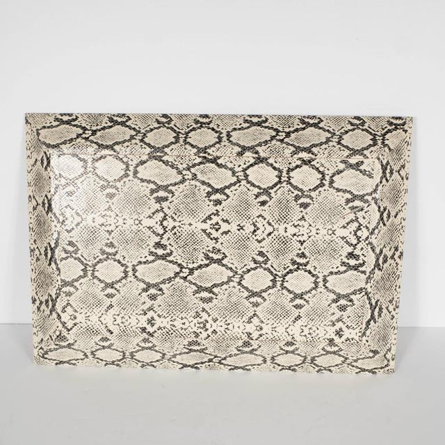 Gray Modernist Rectangular Shadow Box Design Faux Python Tray For Sale - Image 8 of 9