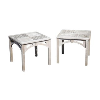 Weather Master Solid Teak Wood Pair Patio Side Tables For Sale