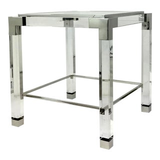 Lillian August Contemporary Acrylic and Stainless Steel End Table For Sale