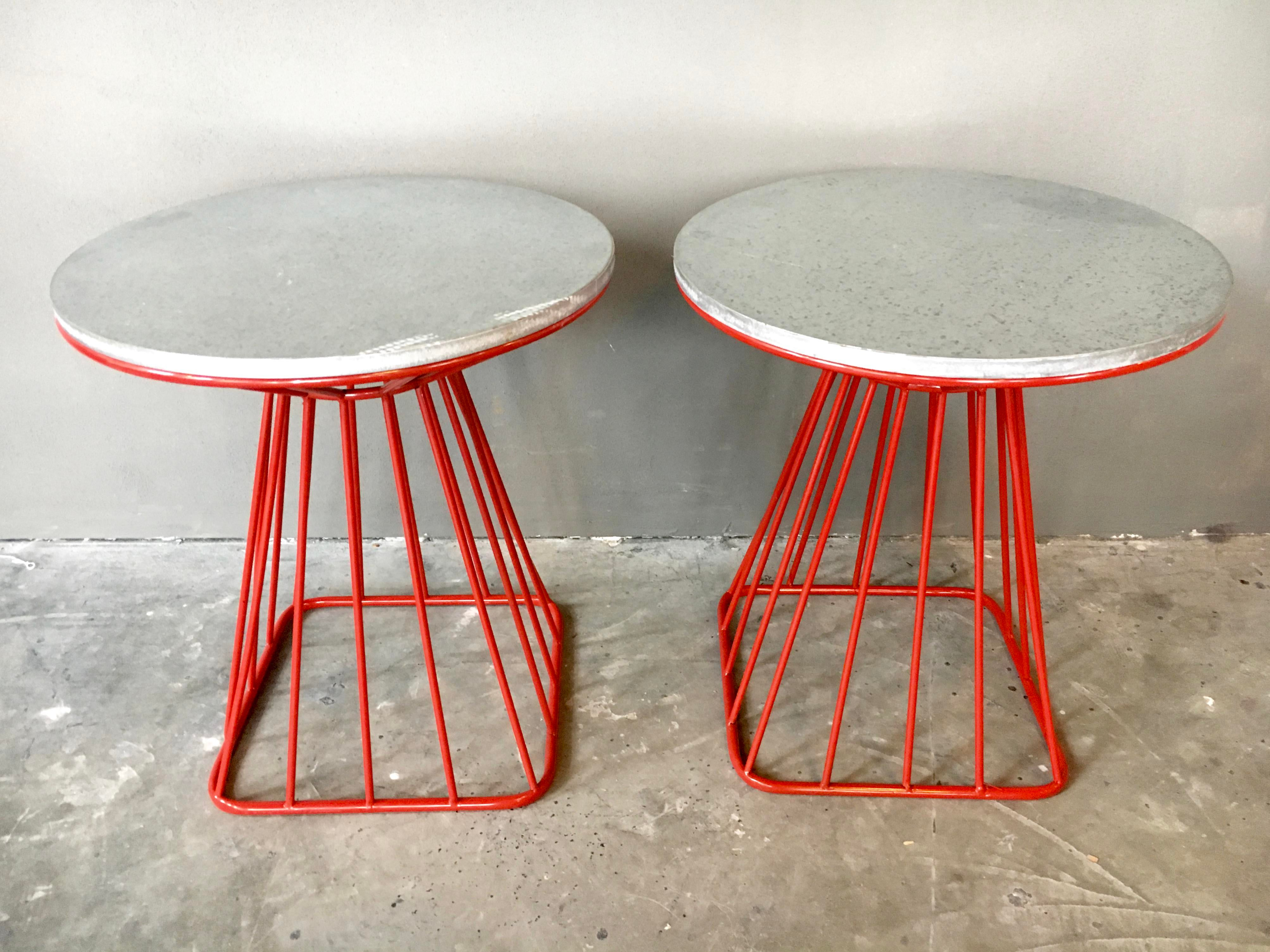 Red wire table wiring info platner style mid century red wire side tables a pair chairish rh chairish com nec wire table wire resistance table greentooth Images