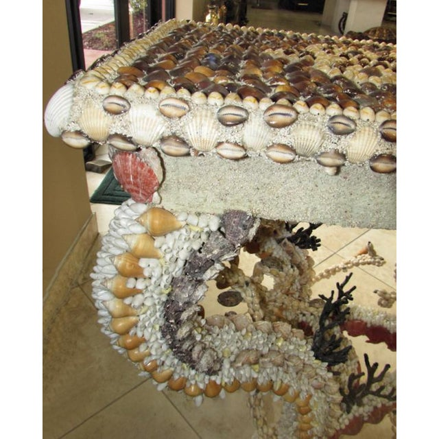 French Louis XV Seashell Encrusted Console Table For Sale - Image 10 of 12