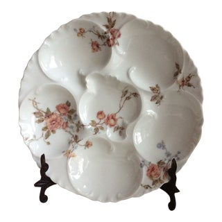 Antique French Floral Porcelain Oyster Plate For Sale