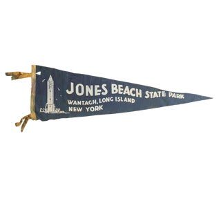 Vintage Jones Beach State Park Felt Flag Pennant