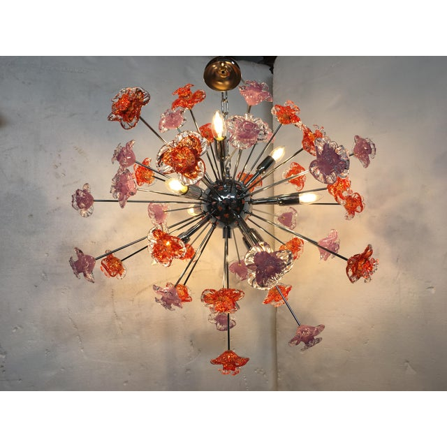 Early 21st Century Contemporary Murano Glass Flowers Sputnik Chandelier For Sale - Image 5 of 12