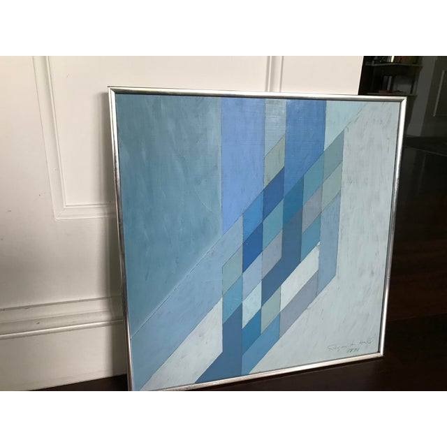 1970s Vintage Abstract Blue Geometric Painting For Sale - Image 6 of 10