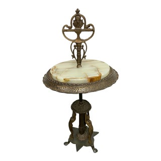 Early 20th Century Deco Onyx + Bronze Side Table For Sale