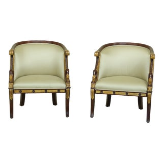 Pair Maitland Smith Model 8109-43 Neoclassical Swan Chairs For Sale
