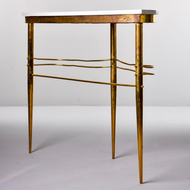 Mid-Century Italian White Marble Top Console With Brass Base For Sale - Image 4 of 11
