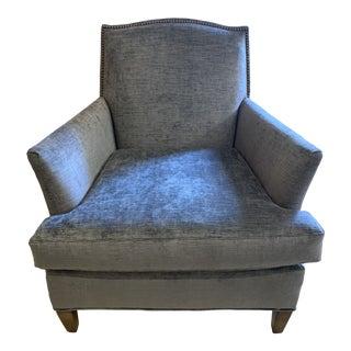 Lee Industries Blue Velvet Lounge Chair For Sale